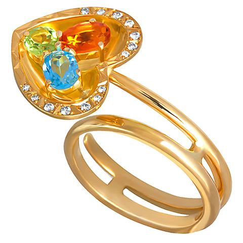 ffc021a29d53 Золотое кольцо с верхом в виде сердца украшенного бриллиантами - Кольца - Ювелирный  интернет-магазин «Золото Урала»