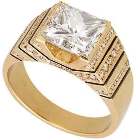 8f320f20e66f Кольцо «Миллениум» из желтого золота 750 пробы с квадратным ...